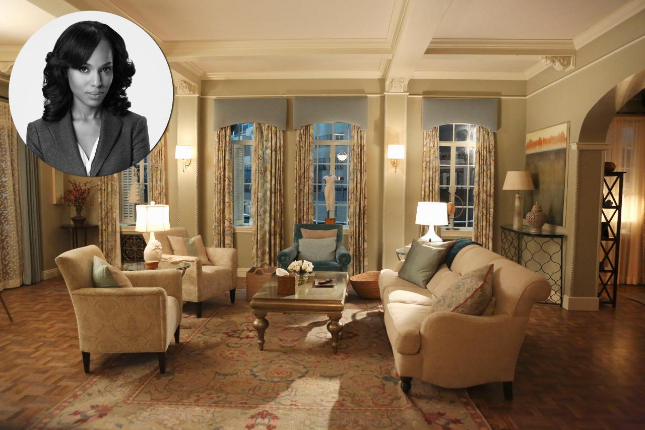 """<p>High-powered political fixer Olivia Pope's wardrobe may be notably sleek and chic by <a href=""""http://www.washingtonian.com/gallery/style/the-enviable-wardrobe-of-scandals-olivia-pope.php"""">D.C. standards</a>, but her palatial apartment is all beige Beltway propriety. </p><p><b>Goodman: </b>""""They light her apartment very dark on the show; it's all about the chiaroscuro. She's usually in muted clothes and the apartment is the same palette, which echoes her focus and follow-through in how she presents herself. The apartment is formal and not bohemian. There's no personal taste to it. It looks like she told a decorator, """"I need some art and I want it turn-key with candles burning and the right wine in the fridge when I get home."""" </p><p><b>Meyer:</b> """"This is how people decorate outside of New York and it's very safe. You've got a <a href=""""http://www.georgesmith.com/"""">George Smith</a>style sofa. There's not much to say about it. It's like when friends ask me what I think of certain restaurants or hotels—as long as it's not truly ugly and offensive, I don't really care."""" <i>Photo:ABC/Danny Feld.</i></p>"""