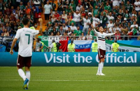 Soccer Football - World Cup - Group F - South Korea vs Mexico - Rostov Arena, Rostov-on-Don, Russia - June 23, 2018 Mexico's Edson Alvarez celebrates after the match REUTERS/Jason Cairnduff