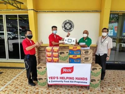 Yeo's Food Aid distributed to communities across Malaysia with St John's Ambulance vehicles.