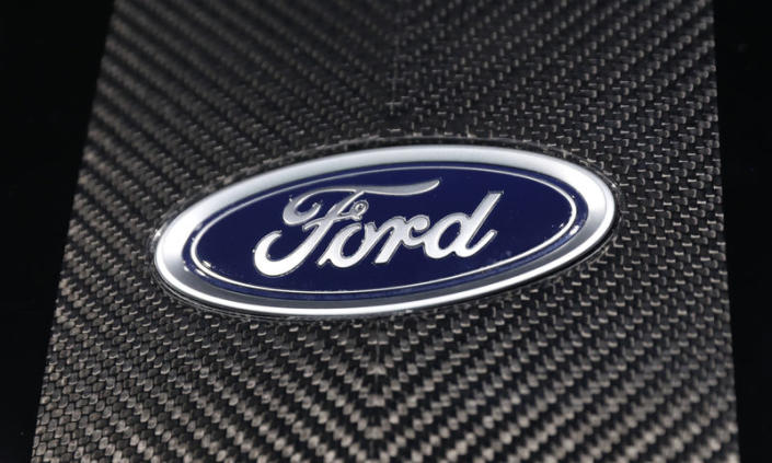 FILE PHOTO: The Ford logo is seen at the New York Auto Show in the Manhattan borough of New York City, New York, U.S., March 29, 2018. REUTERS/Shannon Stapleton