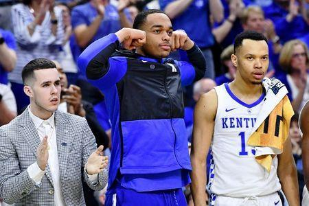 Mar 23, 2019; Jacksonville, FL, USA; Kentucky Wildcats forward PJ Washington (25) reacts to a play during the second half of their game against the Wofford Terriers in the second round of the 2019 NCAA Tournament at Jacksonville Veterans Memorial Arena. Mandatory Credit: John David Mercer-USA TODAY Sports