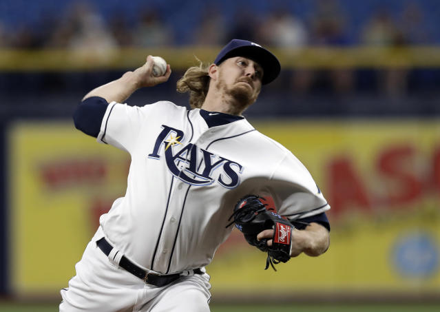 Tampa Bay Rays' Ryne Stanek pitches to an Oakland Athletics batter during the first inning of a baseball game Tuesday, June 11, 2019, in St. Petersburg, Fla. (AP Photo/Chris O'Meara)