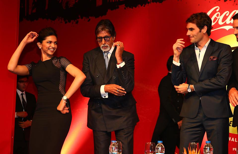 <p>File image: Deepika Padukone, Amitabh Bachchan and Roger Federer at the Coca-Cola gala dinner International Premier Tennis League </p> (Getty Images)