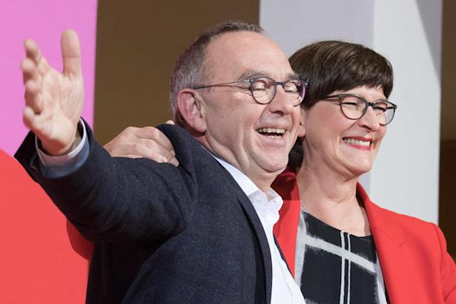 Norbert Walter-Borjans and Saskia Esken won the vote to become the new leaders of the SPD, on 30 November, in Berlin. Photo: Jörg Carstensen/picture alliance via Getty