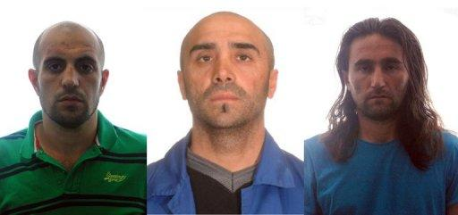 Undated handout pictures from the Spanish Interior Ministry released on August 2, 2012 shows the three suspected members of Al-Qaeda arrested by Spanish police