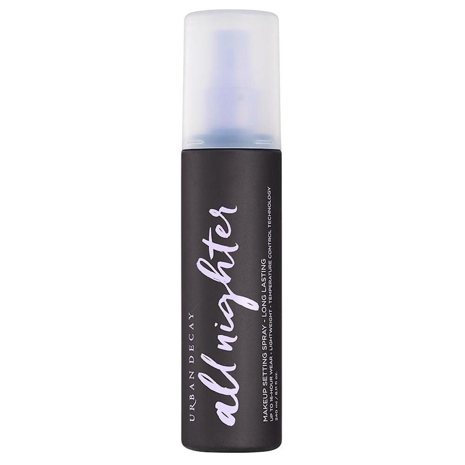 <p>My love affair with the <span>Urban Decay All Nighter Long-Lasting Makeup Setting Spray</span> ($33) goes all the way back to middle school. Even before face masks were a thing, I used it to set my makeup every morning before leaving the house - especially during hot, humid New York City summers.</p> <p>To put it bluntly, I <span>coated</span> my face in the setting spray for this test, and it definitely worked.</p>