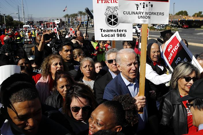 Joe Biden walks on a picket line with members of the Culinary Workers Union Local 226