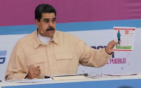 Venezuela's President Nicolas Maduro speaks during his weekly radio and TV broadcast