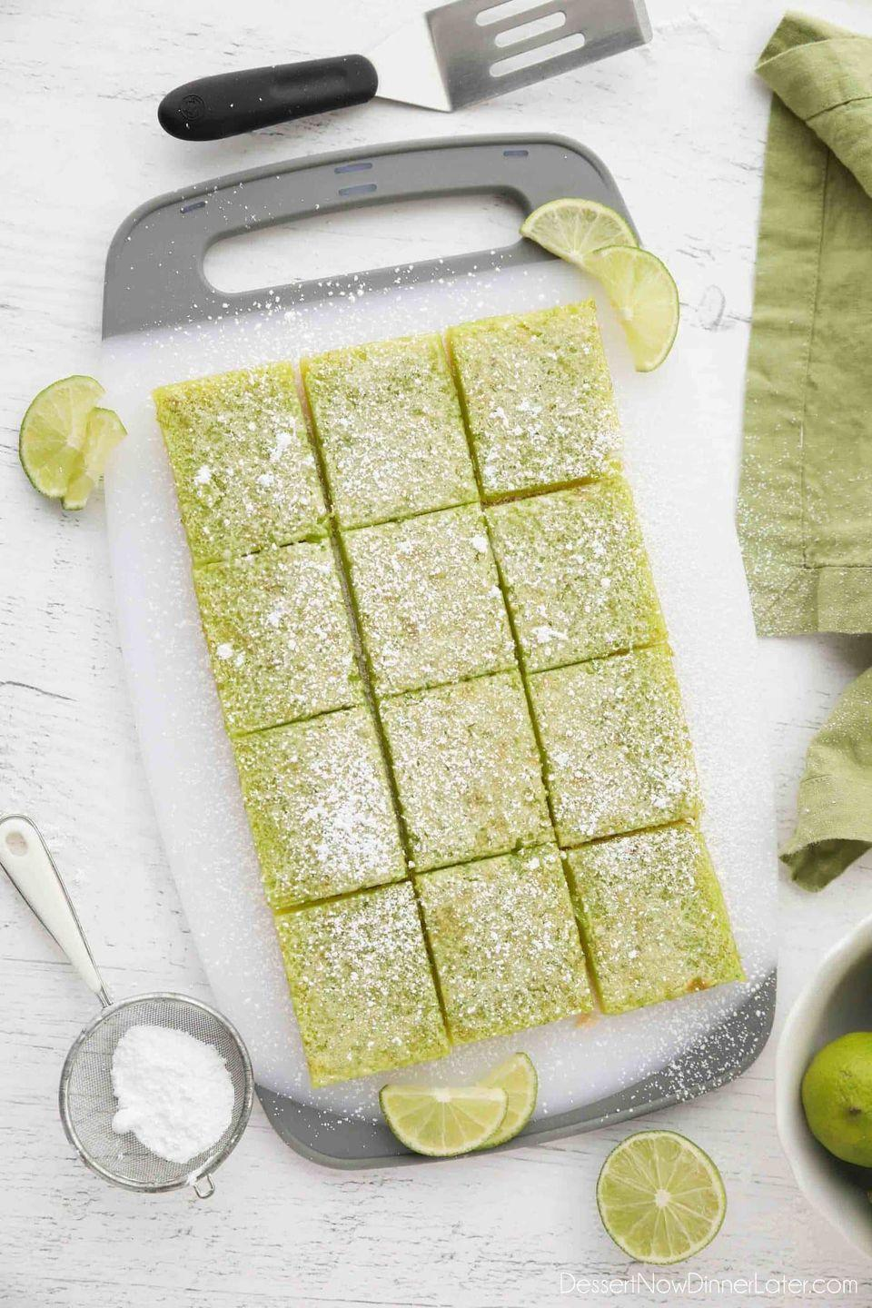 """<p>Obsessed with <a href=""""https://www.thepioneerwoman.com/food-cooking/recipes/a12104/lemon-bars/"""" rel=""""nofollow noopener"""" target=""""_blank"""" data-ylk=""""slk:lemon bars"""" class=""""link rapid-noclick-resp"""">lemon bars</a>? Try this lime version that has all the citrus tang you love with a green tint for St. Patrick's!</p><p><strong>Get the recipe at <a href=""""https://www.dessertnowdinnerlater.com/lime-bars/"""" rel=""""nofollow noopener"""" target=""""_blank"""" data-ylk=""""slk:Dessert Now Dinner Later"""" class=""""link rapid-noclick-resp"""">Dessert Now Dinner Later</a>.</strong></p><p><strong><a class=""""link rapid-noclick-resp"""" href=""""https://go.redirectingat.com?id=74968X1596630&url=https%3A%2F%2Fwww.walmart.com%2Fsearch%2F%3Fquery%3Dpioneer%2Bwoman%2Bmixing%2Bbowls&sref=https%3A%2F%2Fwww.thepioneerwoman.com%2Ffood-cooking%2Fmeals-menus%2Fg35269814%2Fst-patricks-day-desserts%2F"""" rel=""""nofollow noopener"""" target=""""_blank"""" data-ylk=""""slk:SHOP SPATULAS"""">SHOP SPATULAS</a><br></strong></p>"""