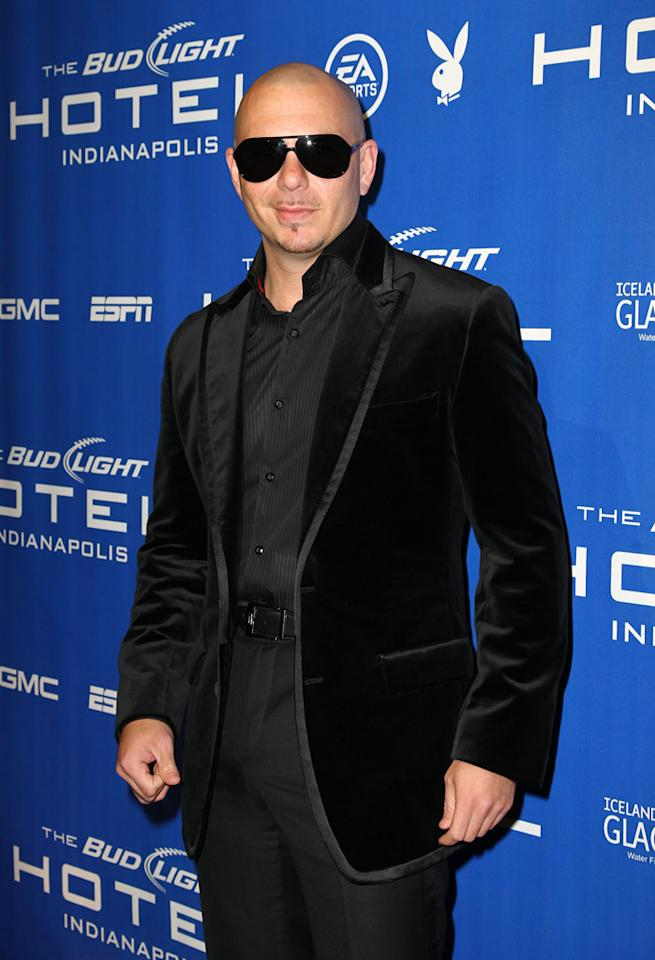 Pitbull arrives for his performance at the Bud Light Hotel concert in Indianapolis
