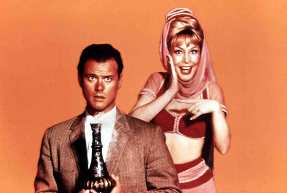 """Larry Hagman and Barbara Eden starred in """"I Dream of Jeannie"""" from 1965 to 1970. (Photo: FilmPublicityArchive/United Archives via Getty Images)"""