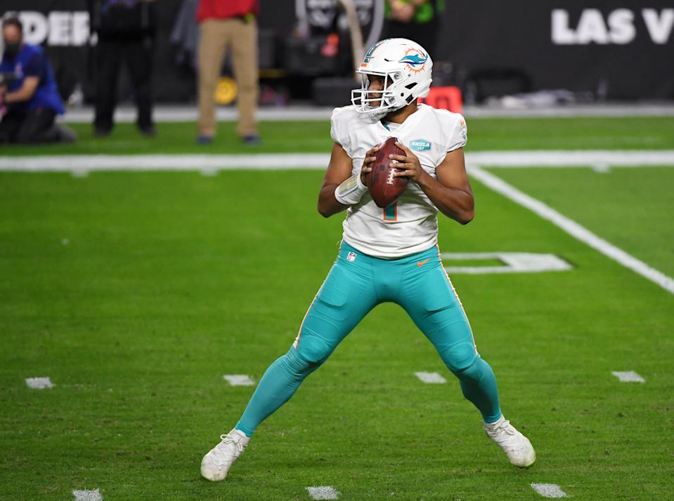 Three anonymous Dolphins players are concerned about quarterback Tua Tagovailoa's ability to improve next season. (Photo by Ethan Miller/Getty Images)