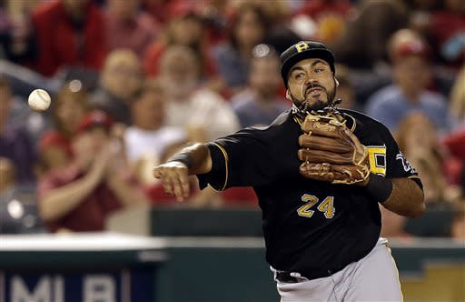 Pittsburgh Pirates third baseman Pedro Alvarez throws Los Angeles Angels' Mark Trumbo out at first during the forth inning of a baseball game in Anaheim, Calif., Friday, June 21, 2013. (AP Photo/Chris Carlson)