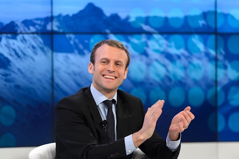 "French Finance Minister Emmanuel Macron, pictured on January 22, 2016, is hoping sanctions on Russia will be lifted ""this summer"""