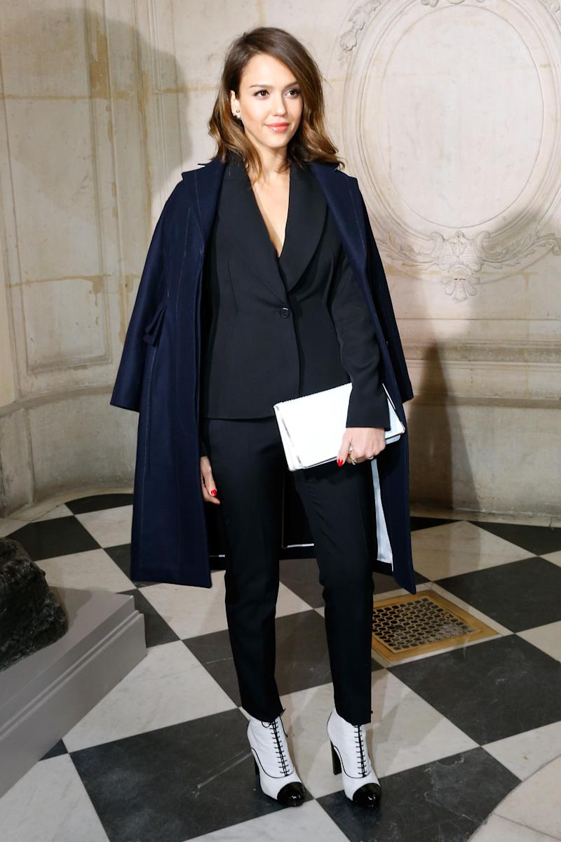 Jessica Alba mixing and matching at the Christian Dior show on Feb. 28, 2014 in Paris, France.  (Rindoff Petroff/Dufour via Getty Images)
