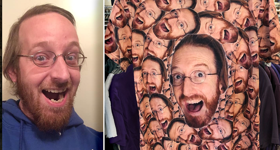Zach Dodge was surprised to see his face on a T-shirt which was found at a thrift store. Source: Supplied