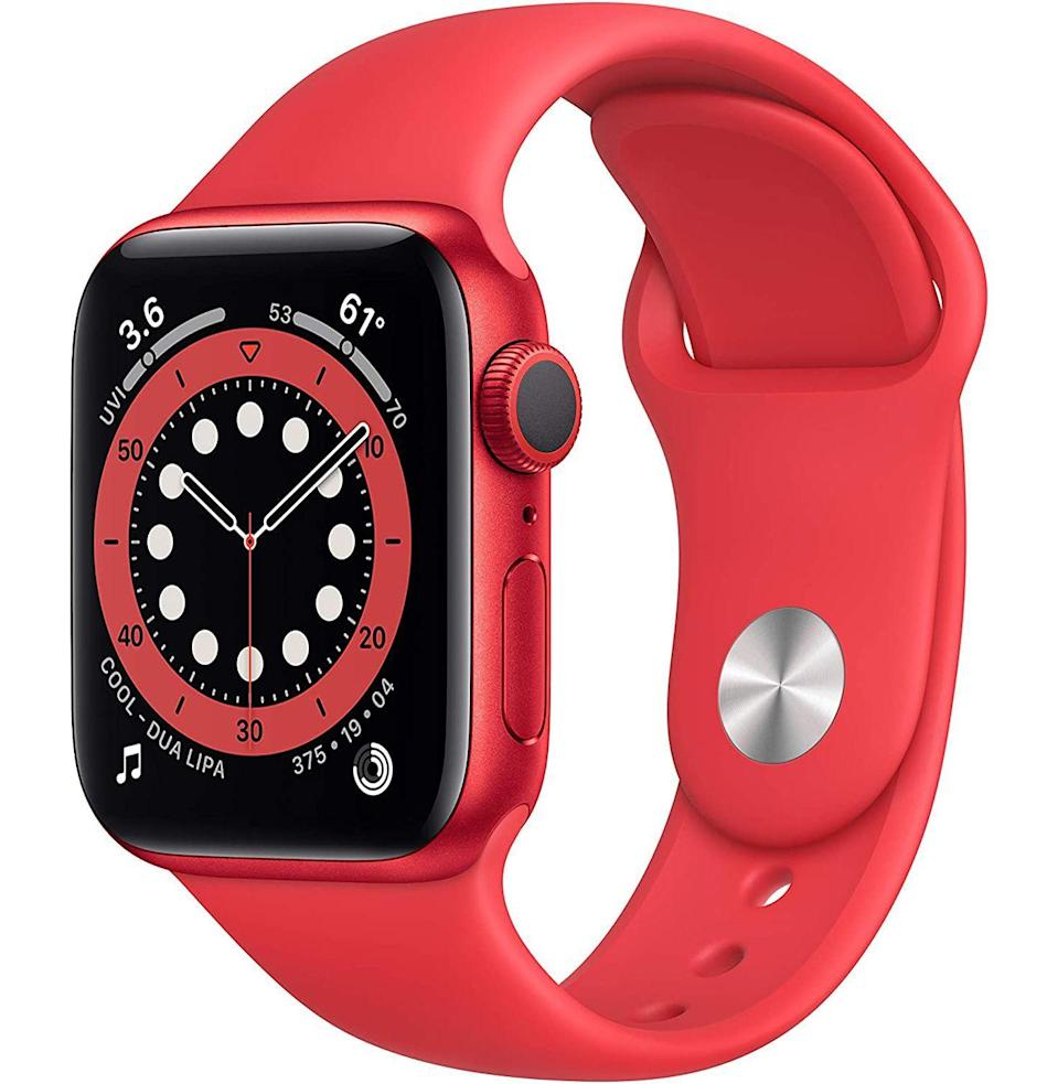 """<p><strong>Apple</strong></p><p>amazon.com</p><p><strong>$329.00</strong></p><p><a href=""""https://www.amazon.com/dp/B08J5RBMRN?tag=syn-yahoo-20&ascsubtag=%5Bartid%7C10049.g.36678553%5Bsrc%7Cyahoo-us"""" rel=""""nofollow noopener"""" target=""""_blank"""" data-ylk=""""slk:Buy"""" class=""""link rapid-noclick-resp"""">Buy</a></p><p><del>$399.00</del> <strong>(18% off)</strong></p><p>Like the color red, as well as (Product) RED's charitable mission? You're in luck with this edition of Apple's latest, most-teched-out <a href=""""https://www.esquire.com/uk/watches/g9762/best-smartwatches/"""" rel=""""nofollow noopener"""" target=""""_blank"""" data-ylk=""""slk:smartwatch"""" class=""""link rapid-noclick-resp"""">smartwatch</a>.</p>"""