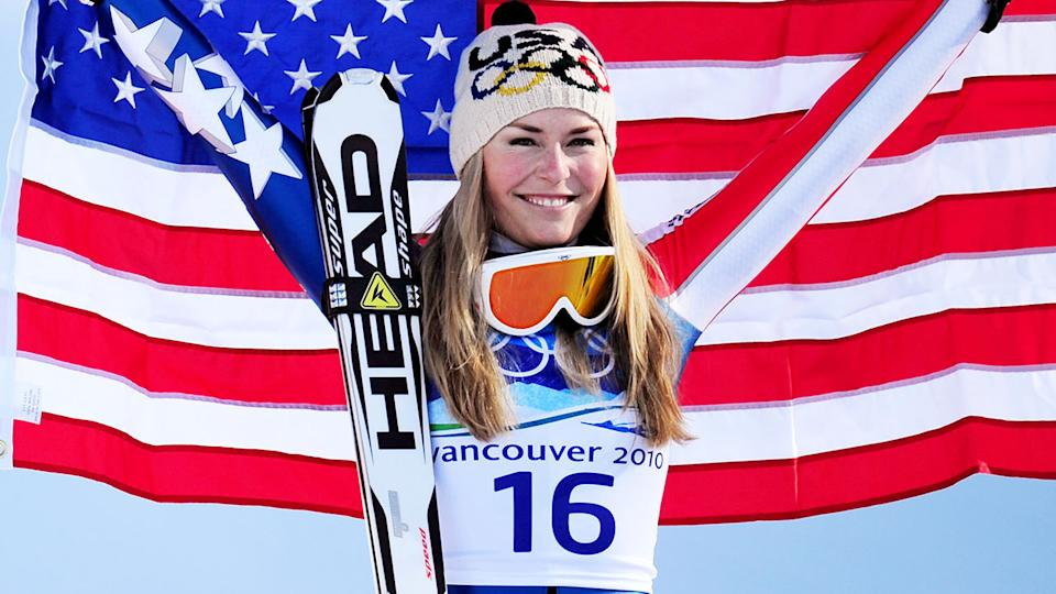Lindsey Vonn, pictured here after winning gold at the 2010 Winter Olympics.