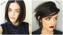 """<p><b>When: May 25, 2017</b><br>Lucy Hale is famous for experimenting with her gorgeous locks — from her signature long, raven tresses to a cool dirty blonde, to a shorter, ombre lob, to an even shorter un-layered above-the-chin bob (and who can forget the time she experimented with bangs??) But now the star of CW's """"Life Sentence"""" is experimenting with an even shorter look, courtesy of celeb stylist Kristin Ess, and she didn't have to cut her hair!<br><br><b> """"When @kristin_ess knows how to fake an even shorter haircut on you and now you want to actually do it one day…"""" </b> Hale captioned next to a snap of her new 'do in a recent Instagram post.<br><br>What d'ya think, would you love to see the """"Pretty Little Liars"""" star with a shorter style?<br><i> (Photos: Instagram) </i> </p>"""