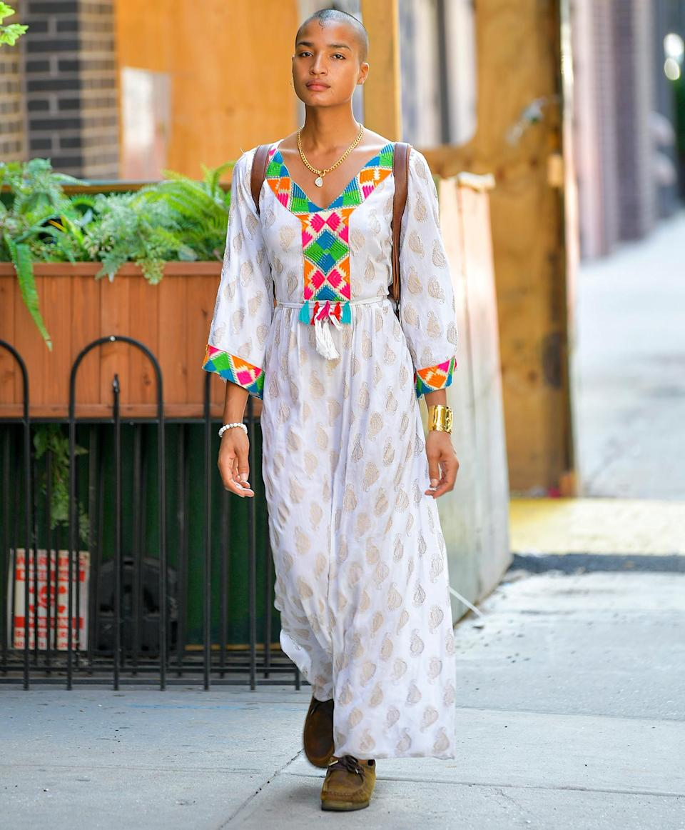 <p>Indya Moore turns heads as they're spotted on the streets of Chelsea in N.Y.C.</p>