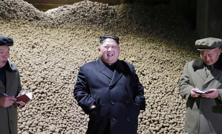 Kim inspected the Samjiyon Potato Farina Production Factory last year (AFP Photo/KCNA VIA KNS)