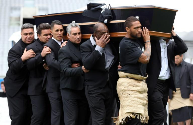 The casket of late New Zealand All Blacks rugby legend Jonah Lomu is carried after a memorial service at Eden Park in Auckland on November 30, 2015