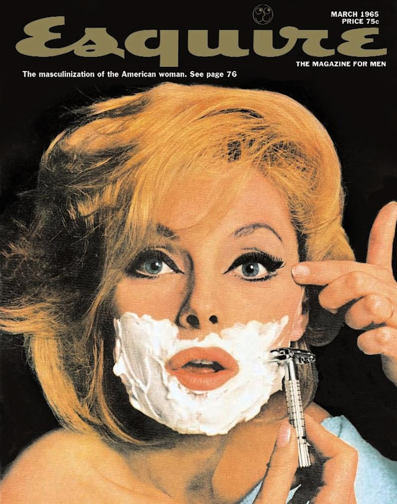 Esquire's March 1965 cover with Italian actress Virna Lisi shaving her face.