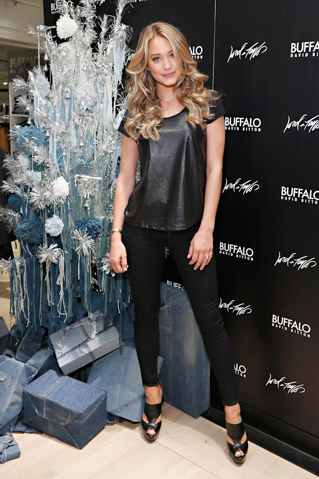 NEW YORK, NY - DECEMBER 12: Model Hannah Davis attends as celebrity stylist Kate Young debuts her holiday installation for Buffalo David Bitton during the 'Guys Night Out' event at Lord & Taylor on December 12, 2013 in New York City. (Photo by Cindy Ord/Getty Images for Buffalo David Bitton)