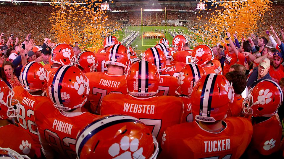 Clemson football players, pictured here before a game.