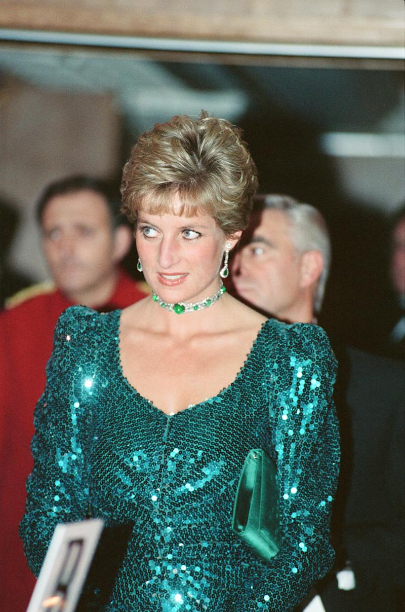 Princess Diana, Princess of Wales, attends the Diamond Ball in aid of Schizophrenia - a National Emergency, of which she is Patron, at The Royal Lancaster Hotel, London. The Princess is wearing a Catherine Walker dress. Picture taken 4th December 1993.