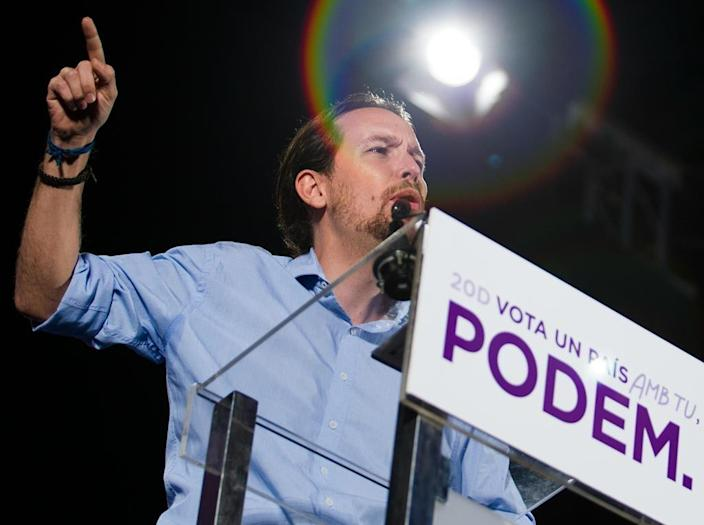 Podemos leader and election candidate Pablo Iglesias in Palma de Mallorca on December 8, 2015 (AFP Photo/)