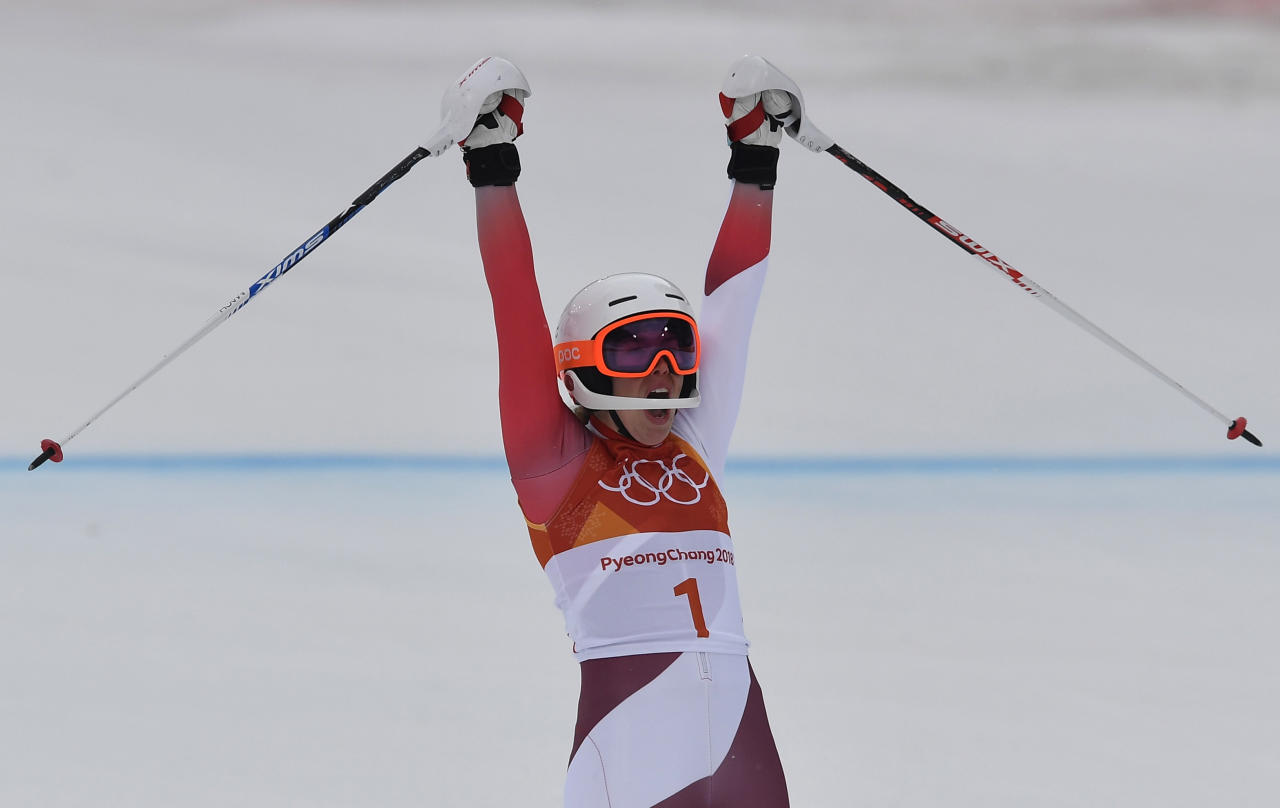 Alpine Skiing - Pyeongchang 2018 Winter Olympics - Women's Alpine Combined - Jeongseon Alpine Centre - Pyeongchang, South Korea - February 22, 2018 - Michelle Gisin of Switzerland reacts during the Women's Slalom part of the Women's Alpine Combined. REUTERS/Toby Melville