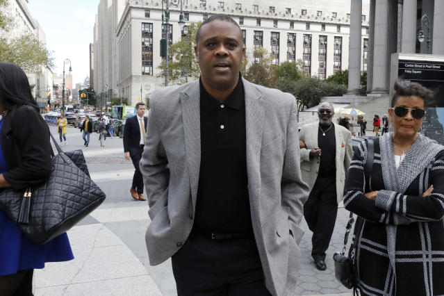 Former amateur basketball league director Merl Code leaves federal court after sentencing, Friday, Oct. 4, 2019, in New York. Code was sentenced to three months in prison for his role in a college basketball bribery scheme that focused on NBA-bound athletes. (AP Photo/Richard Drew)