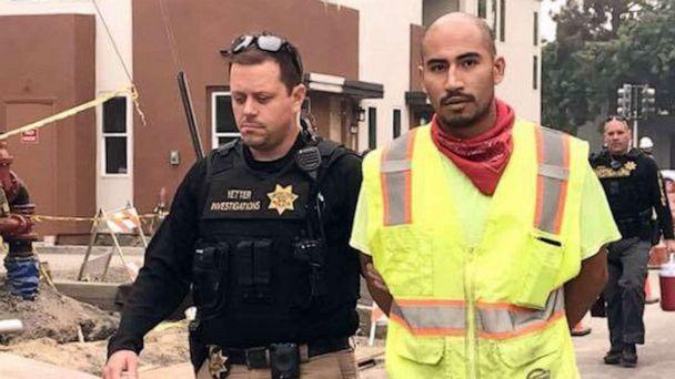 PHOTO: Victor Serriteno, of Vacaville, Calif., is taken into custody in a photo published to Facebook by the Vacaville Police Department on Sept. 11, 2020. (Vacaville Police Department)