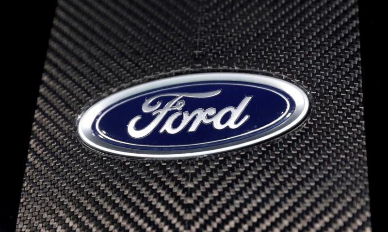 FILE PHOTO: The Ford logo is seen at the New York Auto Show in New York