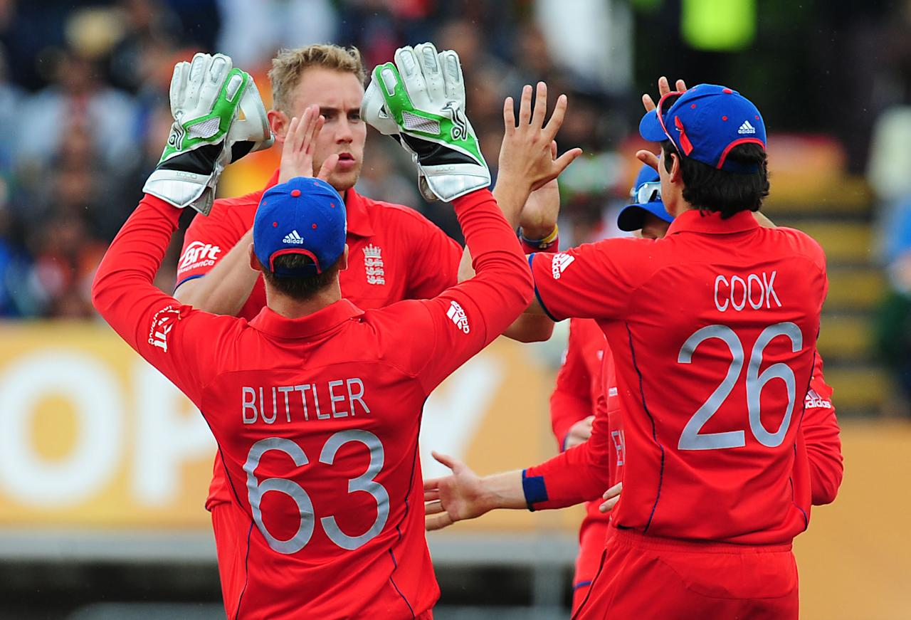 England's Stuart Broad celebrates after bowling Rohit Sharma during the ICC Champions Trophy Final at Edgbaston, Birmingham.