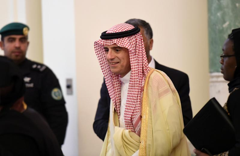 Saudi Minister of Foreign Affairs, Adel al-Jubeir, arrives for a press conference with his South African counterpart on March 27, 2016 in Riyadh