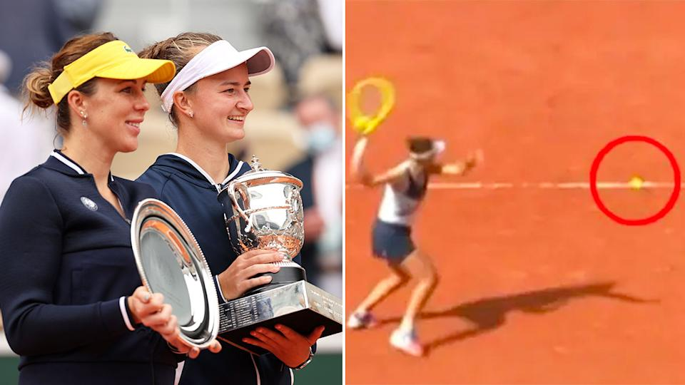 The image on the right shows just how close the decisive final call was in the women's French Open final.