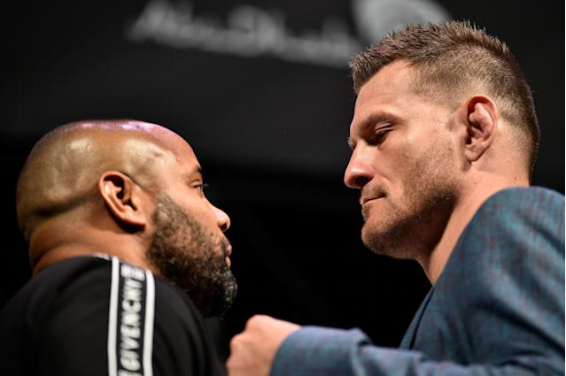 Stipe Miocic and Daniel Cormier face off during the UFC seasonal press conference at T-Mobile Arena on July 5, 2019 in Las Vegas, Nevada. (Getty Images)