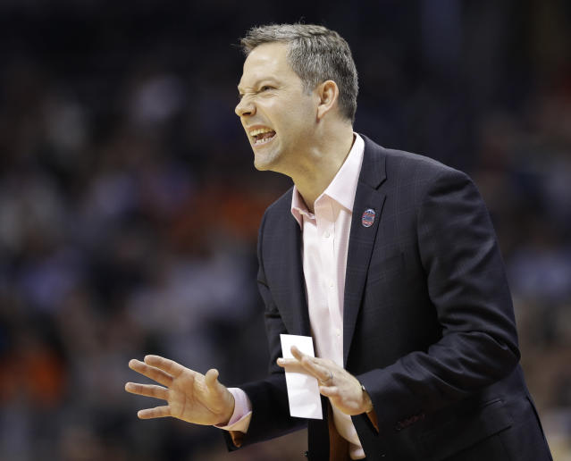 UMBC head coach Ryan Odom used to be a ball boy for the University of Virginia. (AP Photo/Gerry Broome)