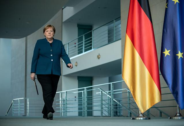 German Chancellor Angela Merkel arrives to make a press statement on the spread of the new coronavirus COVID-19 at the Chancellery, in Berlin on March 22, 2020. Photo: Michael Kappeler /AFP via Getty Images