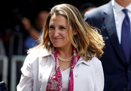 FILE PHOTO: Canada's Foreign Minister Chrystia Freeland after a meeting with Mexico's President-elect Andres Manuel Lopez Obrador in Mexico City