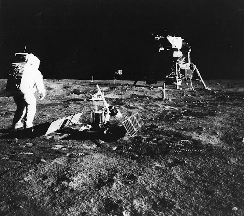 1969: Apollo 11 astronaut Edwin 'Buzz' Aldrin deploys a scientific experiment package on the surface of the moon (Getty Images)