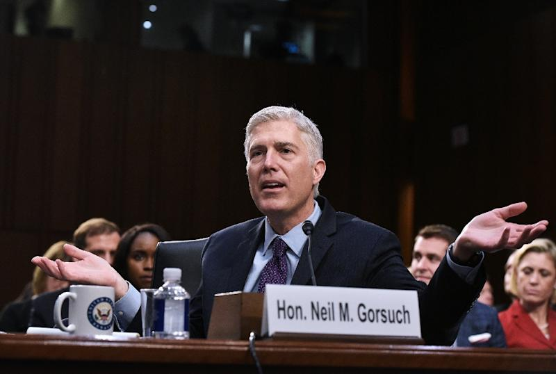 Neil Gorsuch as he testifies before the Senate Judiciary Committee on his nomination to be an associate justice of the US Supreme Court during a hearing in Washington, DC on March 21, 2017 (AFP Photo/MANDEL NGAN)