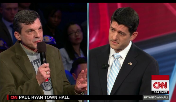 Jeff Jeans, left, who is a cancer survivor, questions House Speaker Paul Ryan about the Affordable Care Act at a town hall event at George Washington University in Washington, D.C. (Photo: CNN)