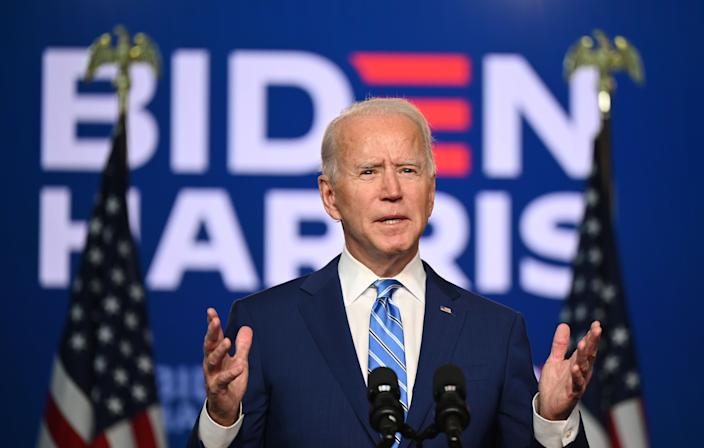 Democratic Presidential candidate Joe Biden speaks at the Chase Center in Wilmington, Delaware on November 4, 2020. (Jim Watson/AFP via Getty Images)