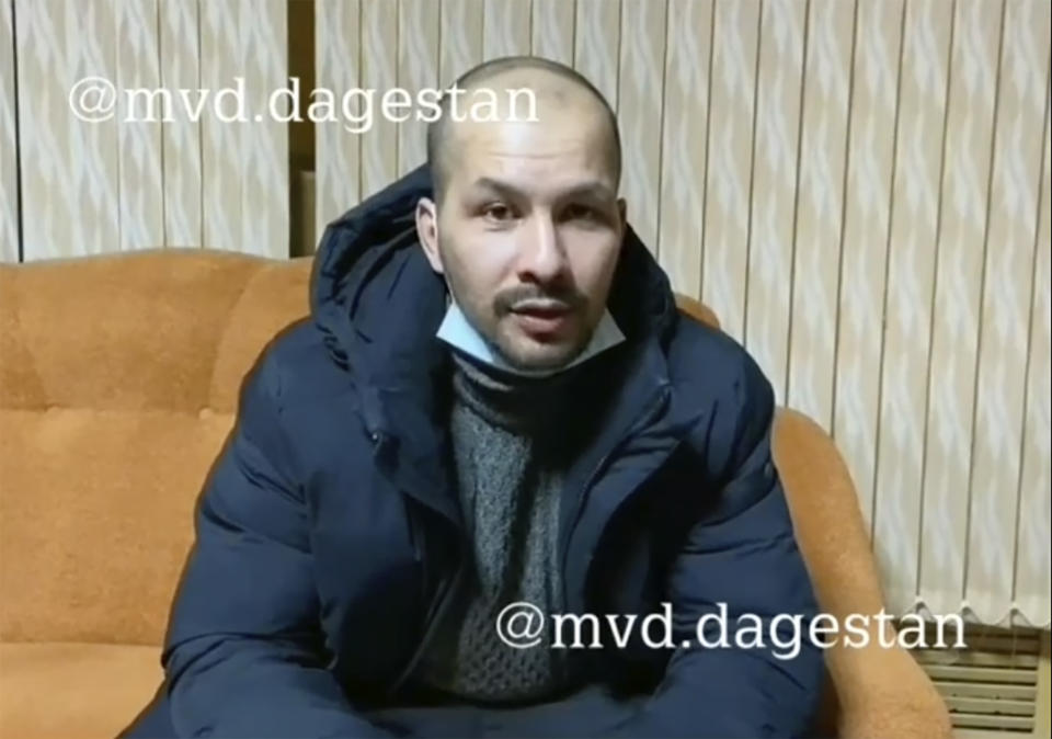 A video still of Daud Daudov who claimed his newborn babies had been replaced by dolls before their burial.