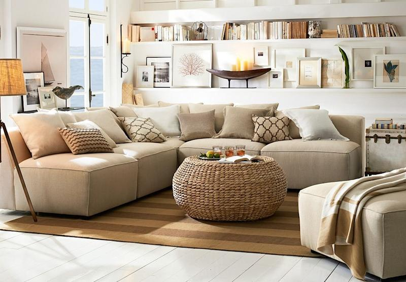 Contemporary living room in beige and browns decorated in Pottery Barn products