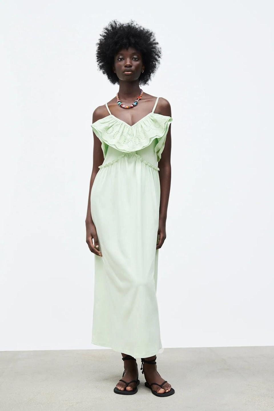 <p>This <span>Zara Mint Green Long Dress</span> ($40) looks very summery, and the ruffle makes it stand out even more. It's ideal for brunch parties that extend into happy hour drinks.</p>