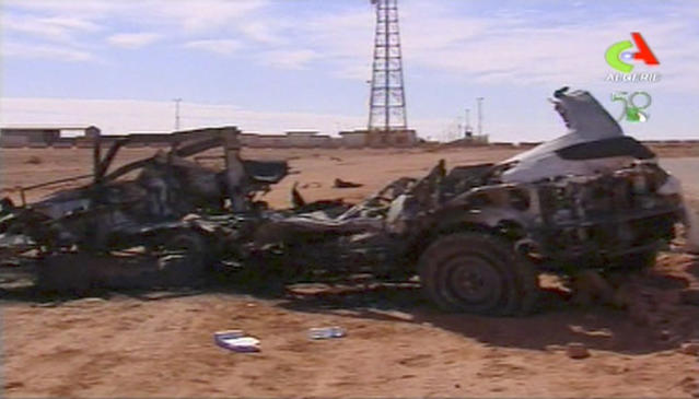 In this image taken from Algerian TV broadcast on Sunday Jan. 20 2013, showing what it said was the aftermath of the hostage crisis at the remote Ain Amenas gas facility in Algeria. Algerian special forces stormed the plant on Saturday to end the four-day siege, moving in to thwart what government officials said was a plot by the Islamic extremists to blow up the complex and kill all their captives with mines sown throughout the site. (AP Photo/Algerie TV via Assiaciated Press TV) ** TV OUT ALGERIA OUT **